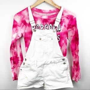 Justice white Over alls and tye dye long sleeve 12